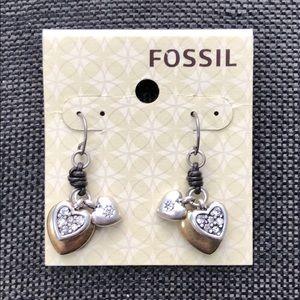 Sweet Fossil Cluster Heart Earrings